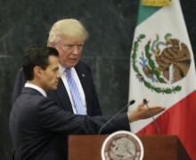 U.S. presidential nominee Trump and Mexico's President Pena Nieto arrive for a press conference in Mexico City