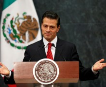Mexico's President Enrique Pena Nieto delivers a message after U.S. Republican candidate Donald Trump won an unexpected victory in the presidential election, at Los Pinos presidential residence in Mexico City